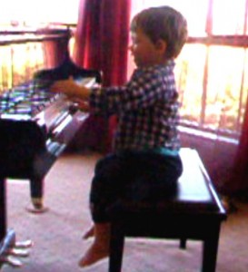 Hunter learnt to take care of the piani at Early Learing Music classes