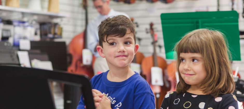 Heston and Ruby enjoy Music for Little Mozarts at Music Matters