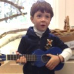 Hunter plays Blue Ukulele after Early Learning Music classes