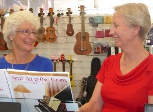 Annette and Heather share a laugh at music lesson with Music Matters