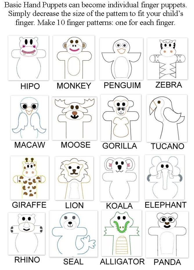 Animal Finger and Hand Pattern ideas for Kindy kids pre- instrumental learning CROPPED